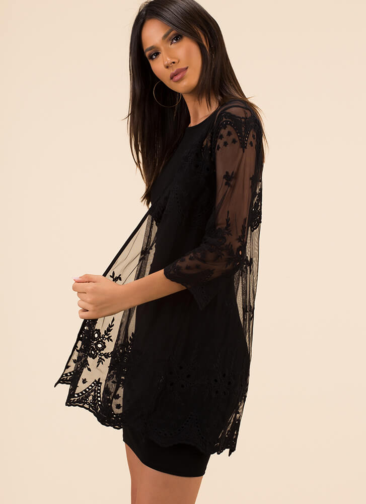 Delicate Touch Sheer Floral Duster BLACK