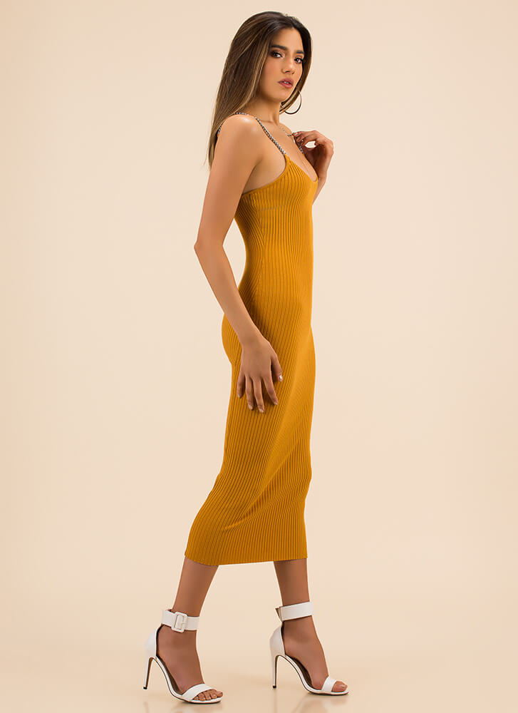 Link Up Ribbed Chain Strap Dress MUSTARD