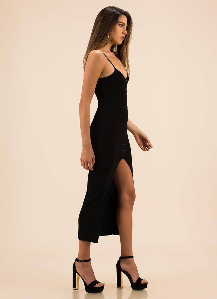 Press The Button Slit Rib Knit Dress BLACK