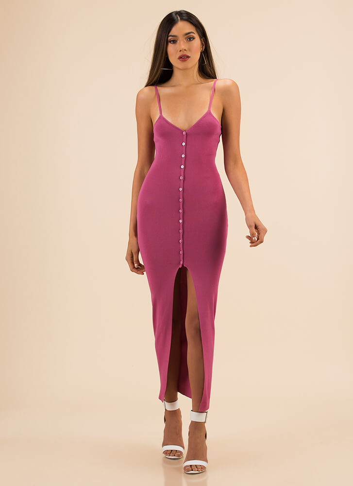 Press The Button Slit Rib Knit Dress PINK