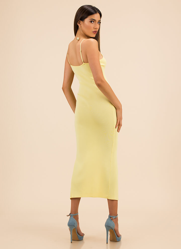 Press The Button Slit Rib Knit Dress YELLOW