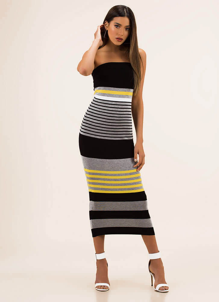 Stripe For Your Right Knit Tube Dress HGREY