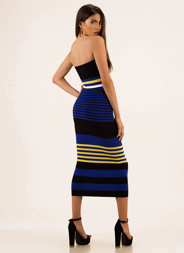 Stripe For Your Right Knit Tube Dress ROYAL