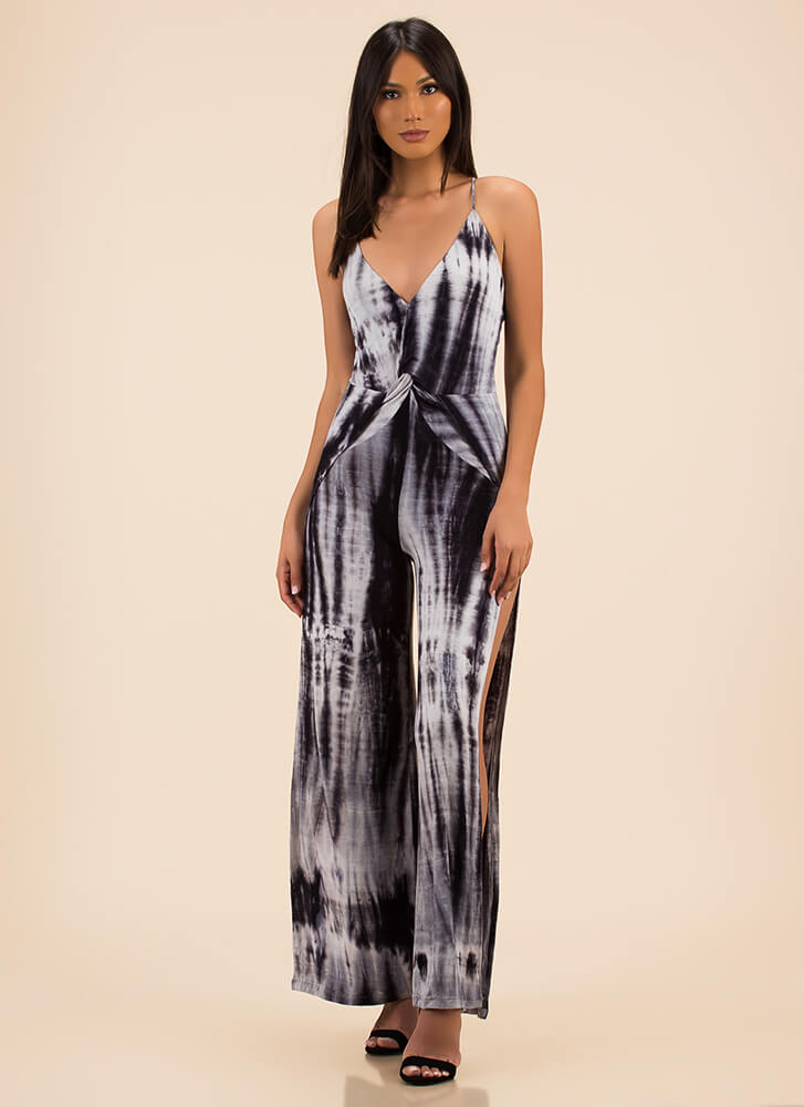 Totally Tie-Dye Slit Palazzo Jumpsuit BLACK