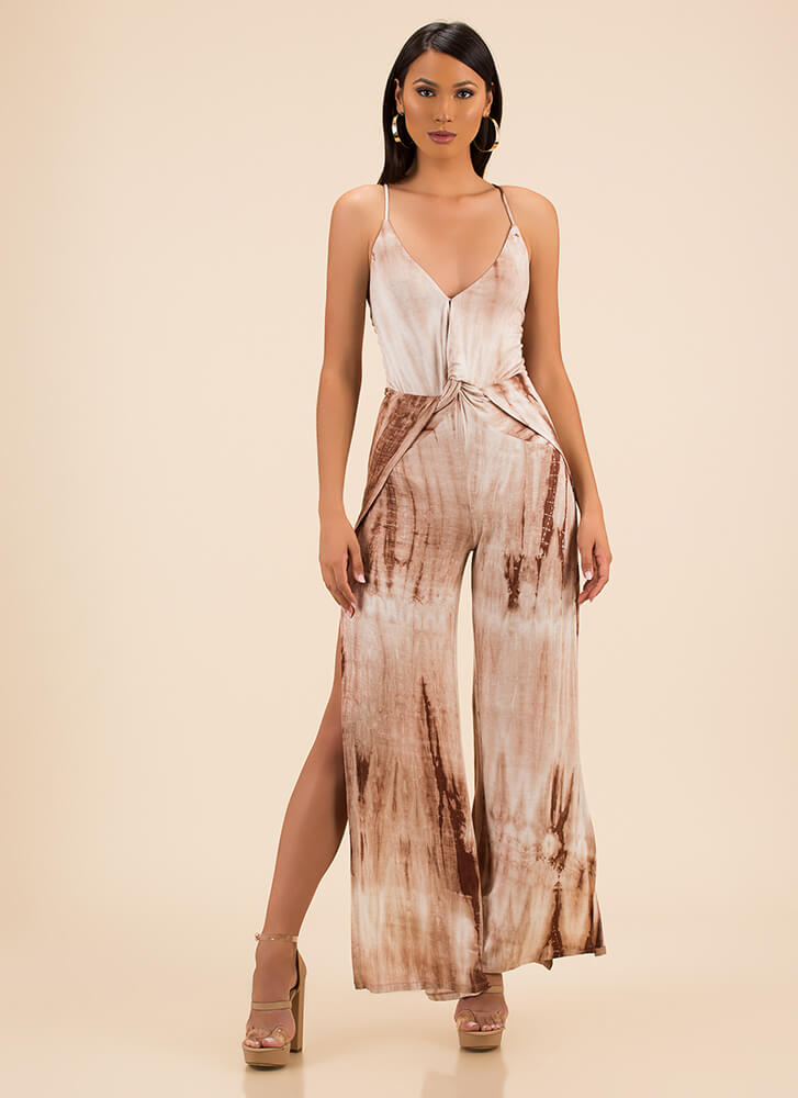 Totally Tie-Dye Slit Palazzo Jumpsuit TAUPE (You Saved $19)