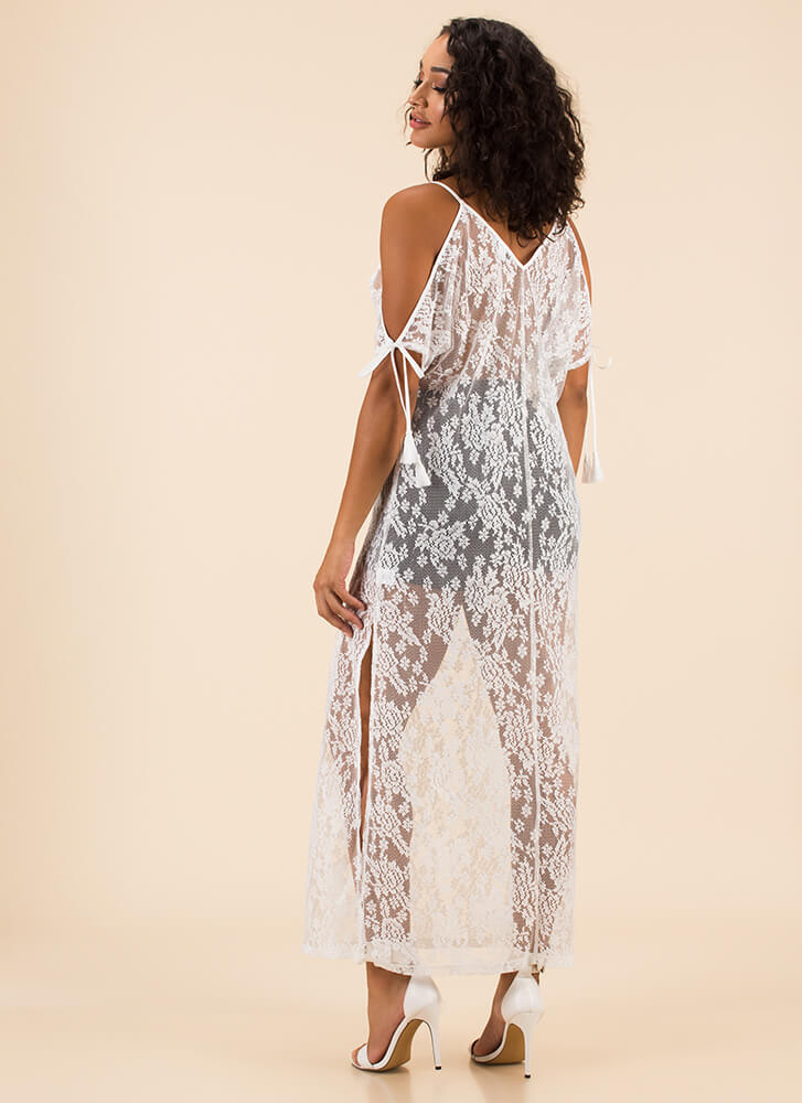 Sheer-ly Beloved Slit Lace Maxi Dress WHITE