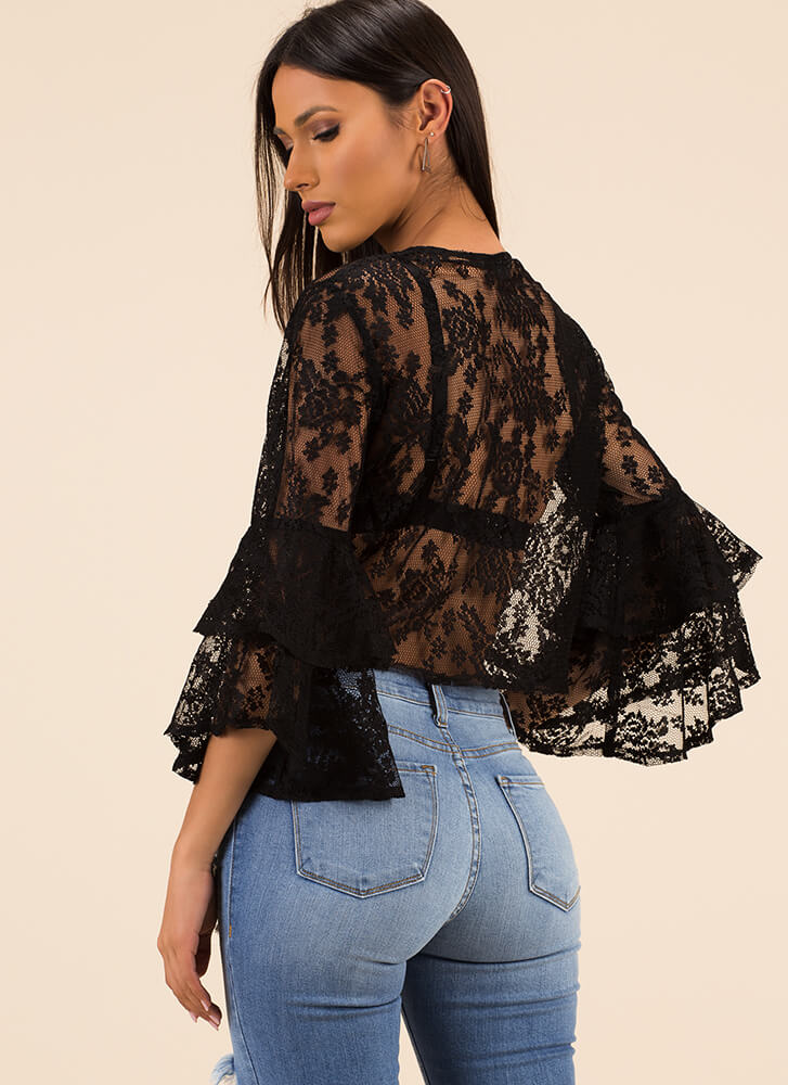 I'm Getting Frills Tied Lace Crop Top BLACK (You Saved $13)