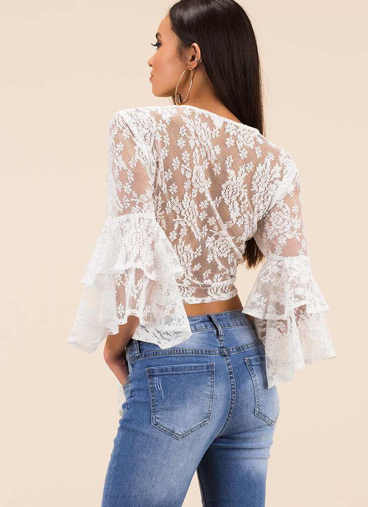 I'm Getting Frills Tied Lace Crop Top WHITE (You Saved $13)