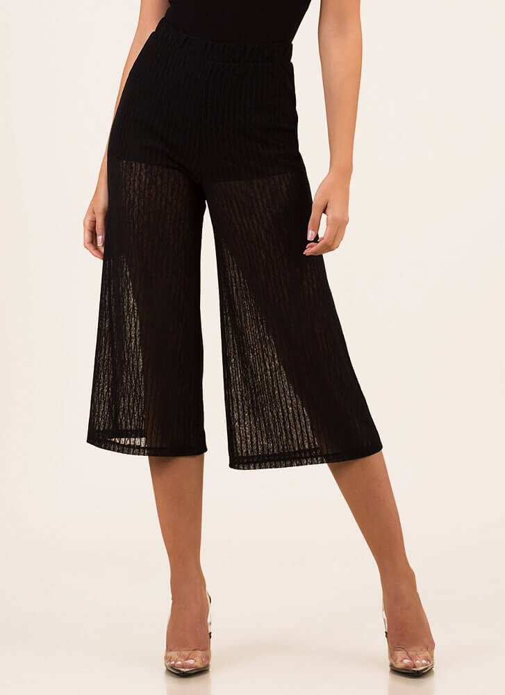 Walk On Air Cropped Mesh Pants BLACK