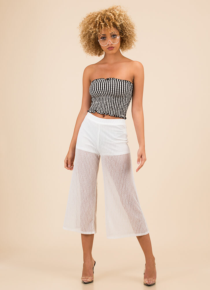 Walk On Air Cropped Mesh Pants WHITE