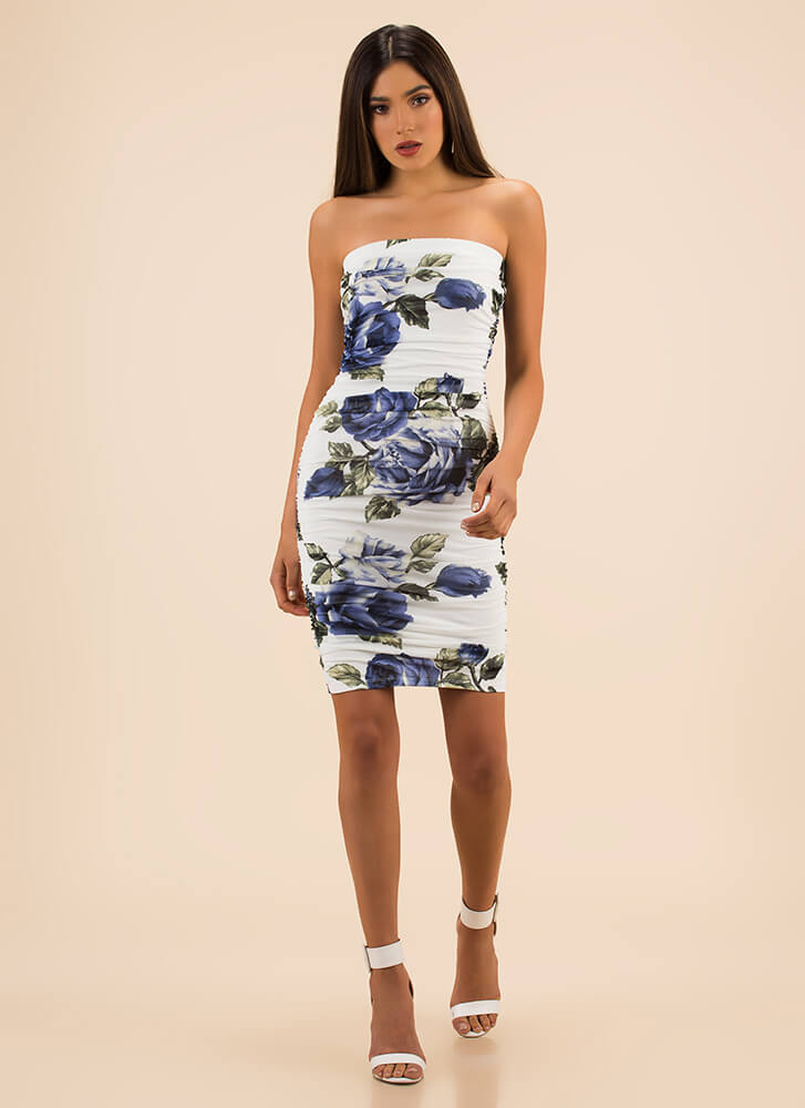 Rose To The Top Ruched Tube Dress WHITEBLUE