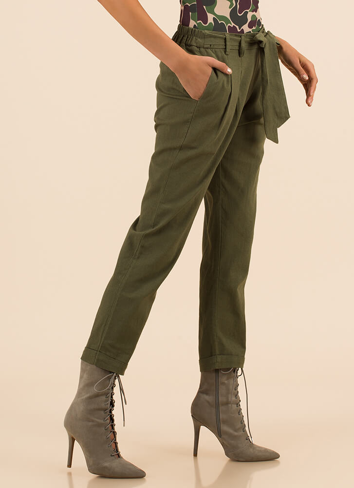 Do As You Pleats Bow-Front Linen Pants OLIVE