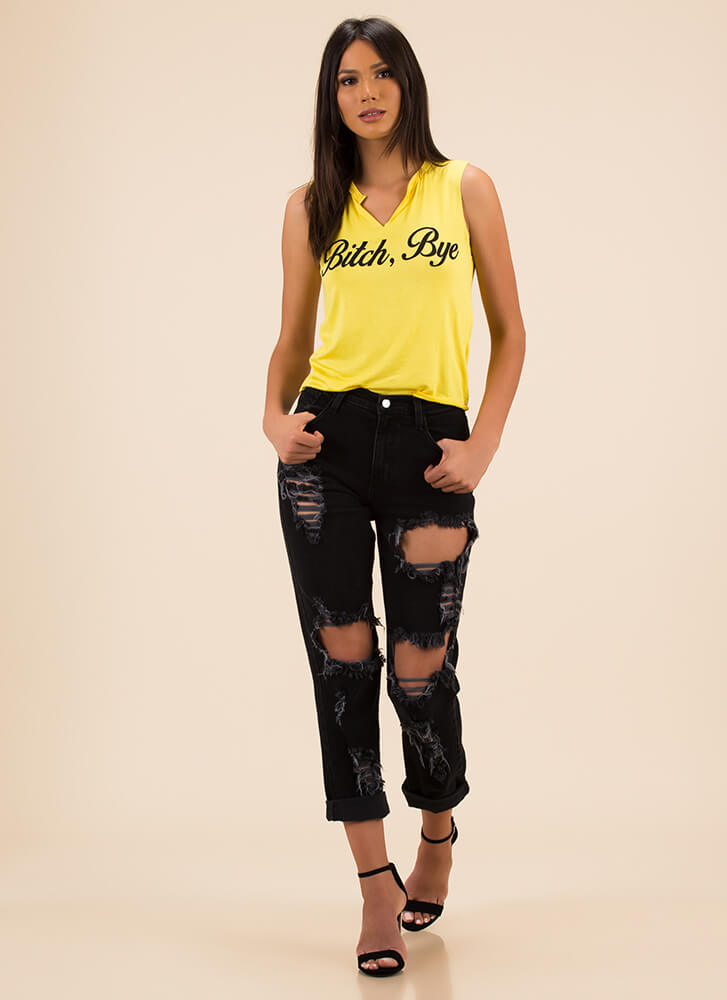 Bitch Bye Notched Graphic Tank Top YELLOW