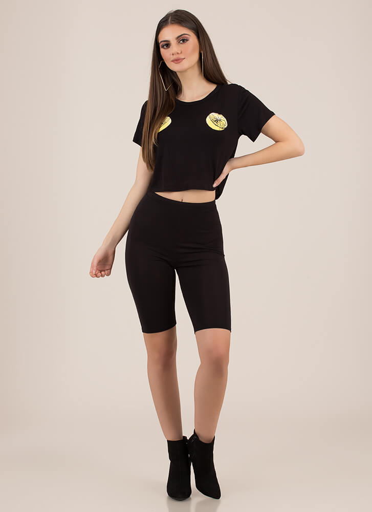 Main Squeeze Lemon Graphic Crop Top BLACK