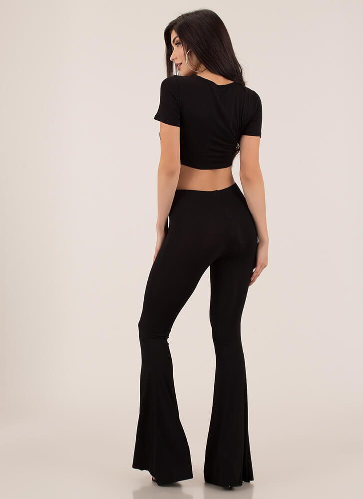 Retro Groove Tie-Front Top And Pant Set BLACK