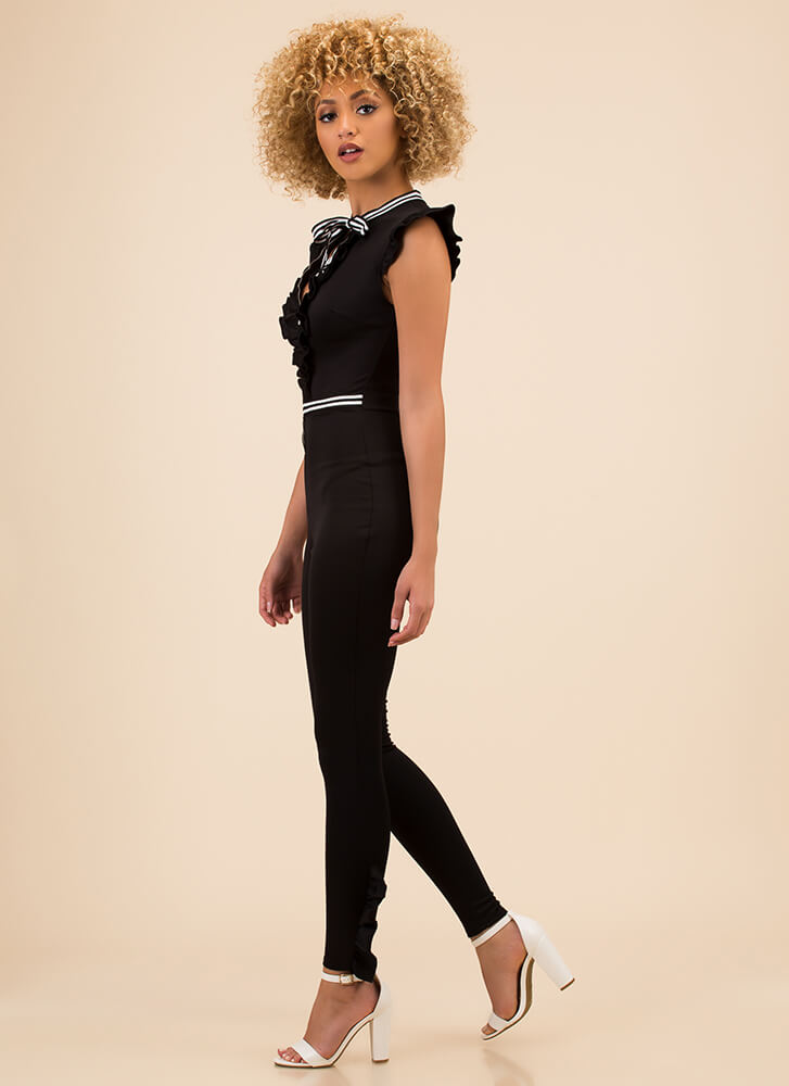 Ribbon Ceremony Ruffled Jumpsuit BLACK (Final Sale)