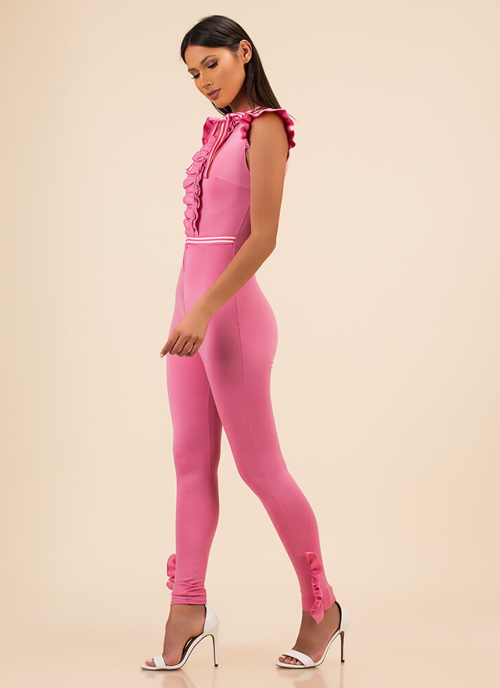 Ribbon Ceremony Ruffled Jumpsuit PINK (Final Sale)
