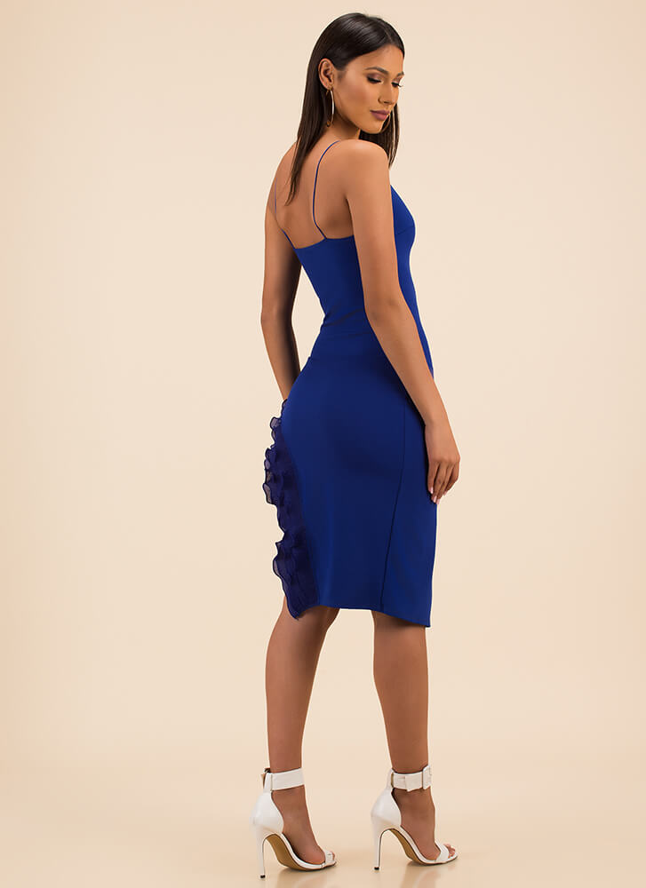 Have My Frill Ruffled High Slit Dress ROYAL