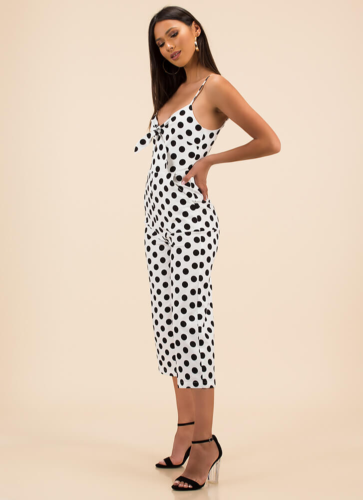 Beauty Spot Cropped Polka Dot Jumpsuit WHITE