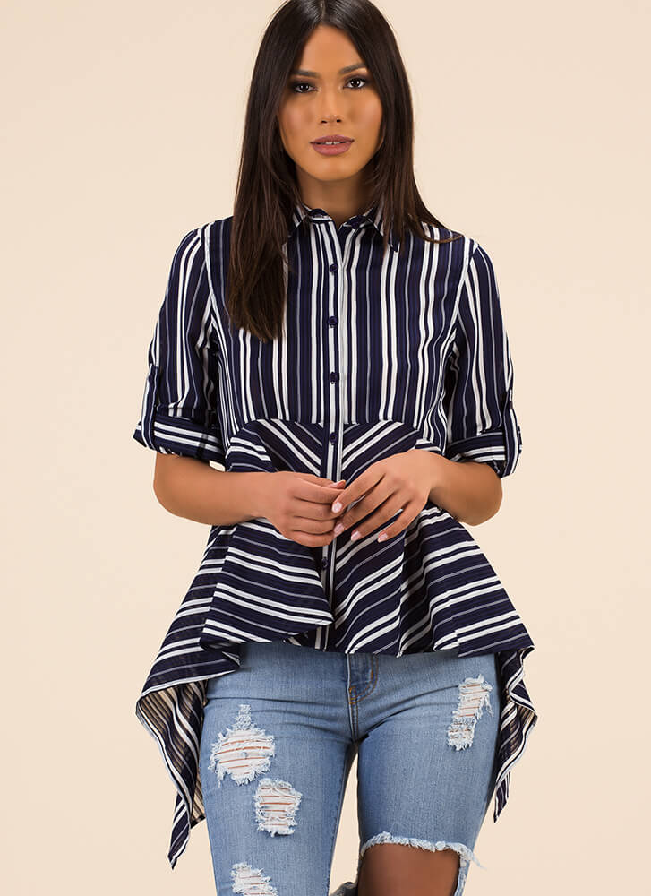 On Line Striped Fit-And-Flare Blouse NAVY