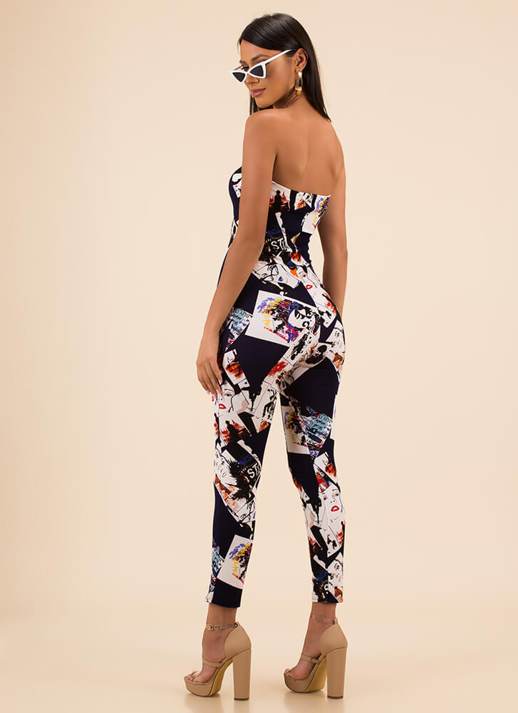 Photo Op Poster Print Strapless Jumpsuit NAVY