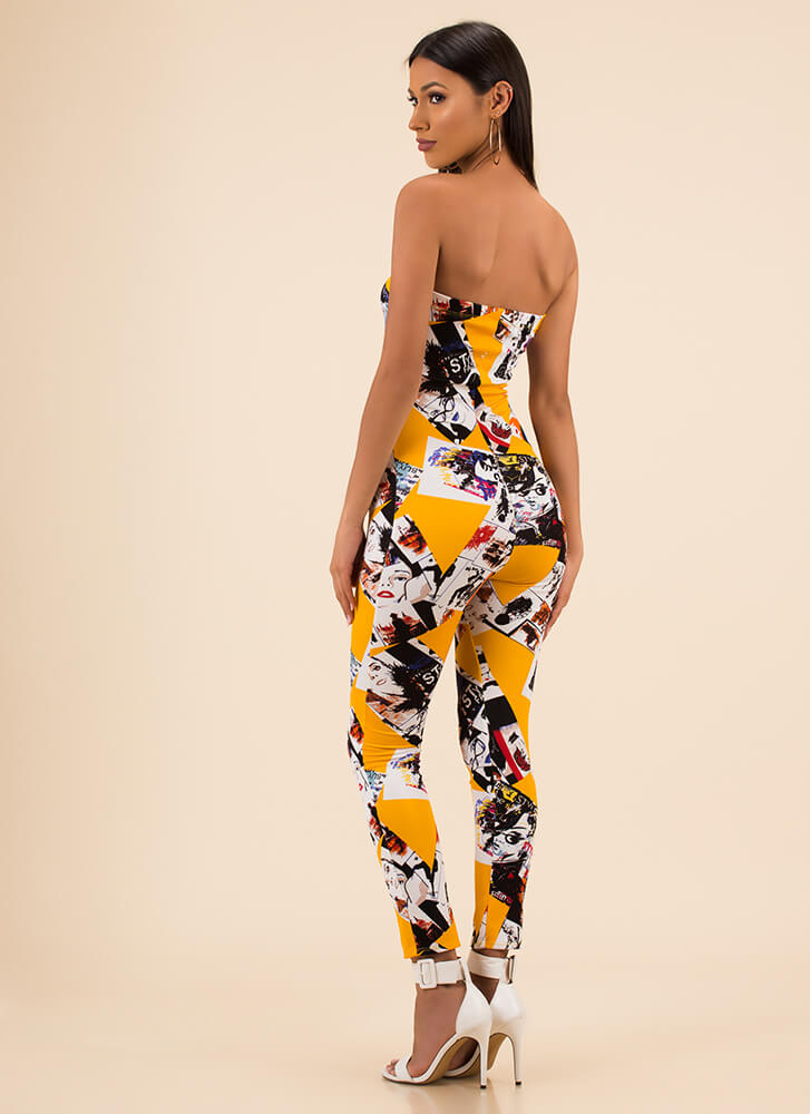 Photo Op Poster Print Strapless Jumpsuit YELLOW