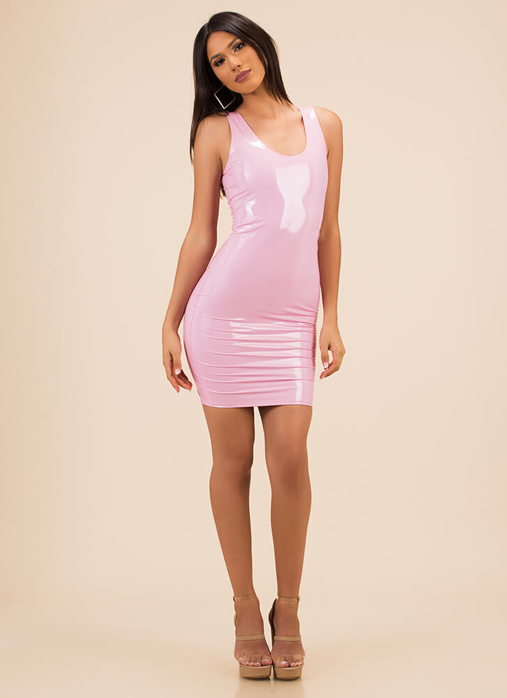 Liquid Courage Faux Patent Tank Dress PINK
