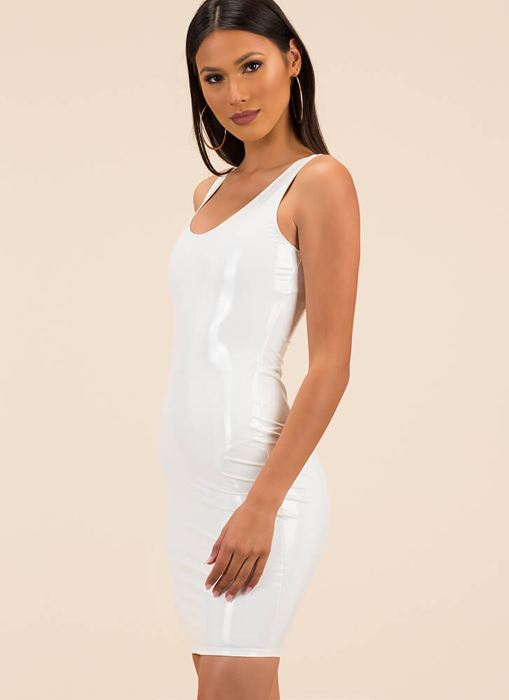 Liquid Courage Faux Patent Tank Dress WHITE