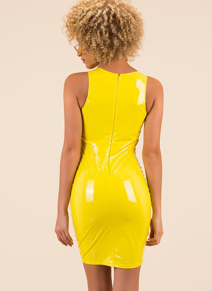 Liquid Courage Faux Patent Tank Dress YELLOW