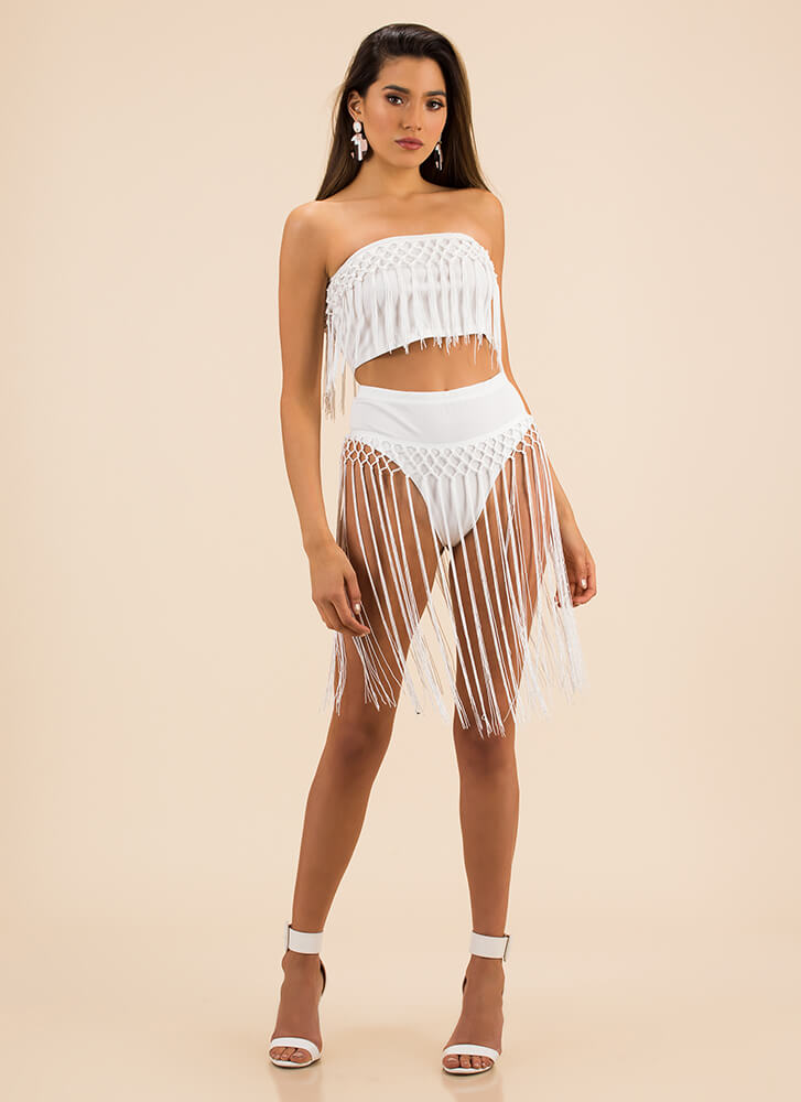 Watch Me In Action Fringed Bikini Set WHITE (Final Sale)