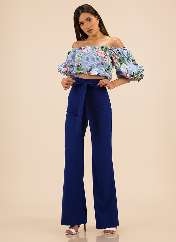 Leaf Me In Paradise Puffy Striped Top BLUE