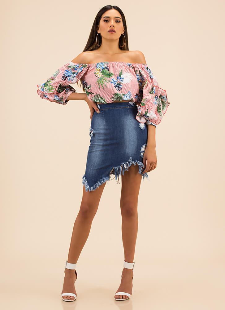 Leaf Me In Paradise Puffy Striped Top PINK
