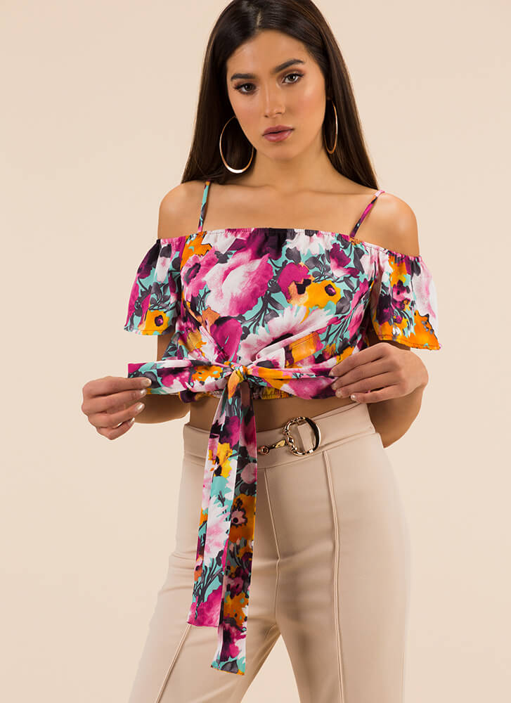 Garden Party Tie-Front Floral Crop Top PINK