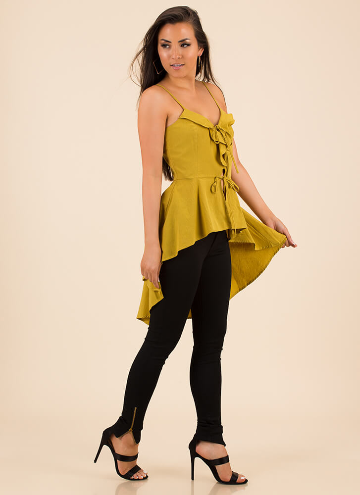 For The Frill Of It Ruffled High-Low Top MUSTARD