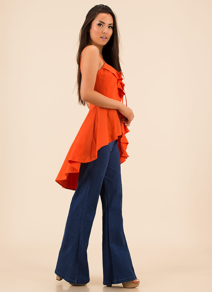 For The Frill Of It Ruffled High-Low Top ORANGE