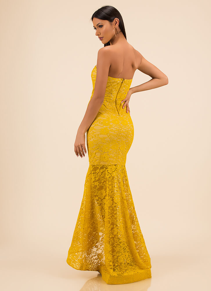 Just Gorgeous Strapless Lace Gown TEALEAF