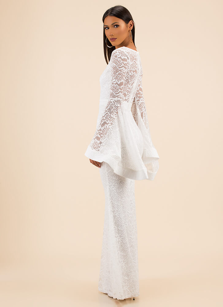 All This Drama Trumpet-Sleeve Lace Gown IVORY - GoJane.com