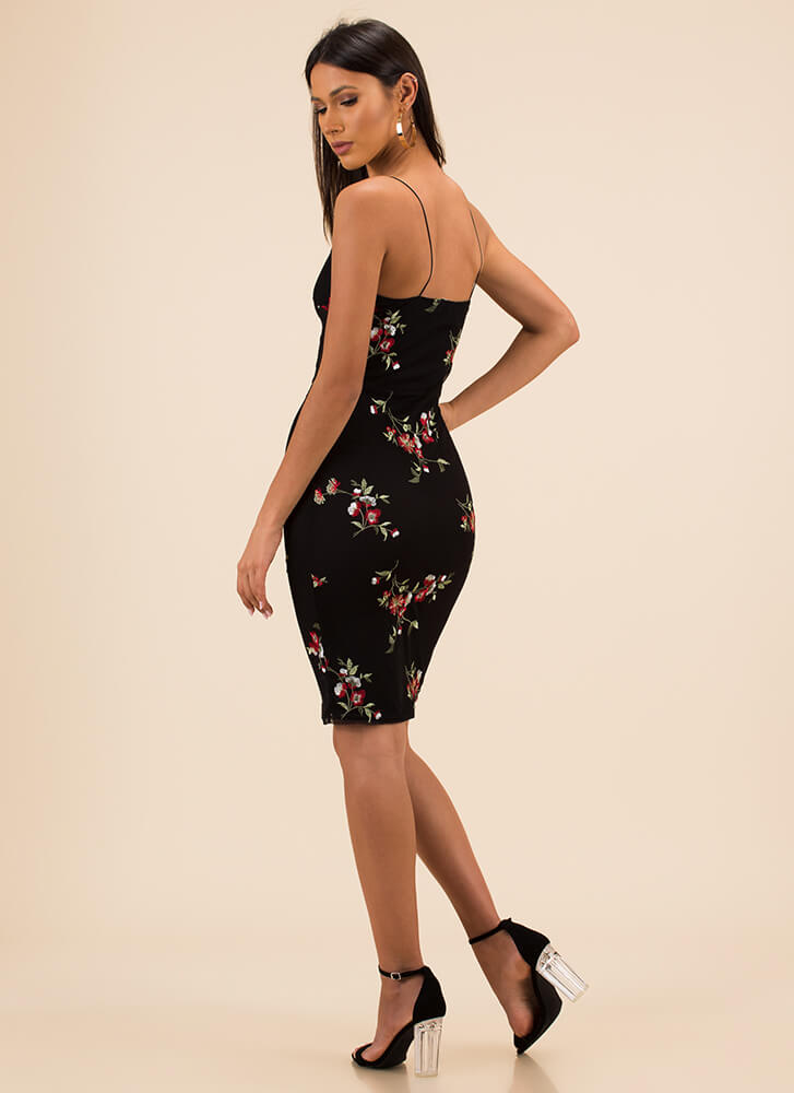 Floral Fashion Embroidered Mesh Dress BLACK