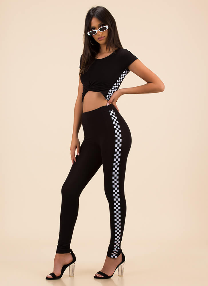 Race On Checkered Top And Legging Set BLACK (Final Sale)