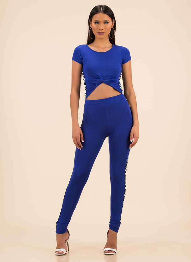 Race On Checkered Top And Legging Set ROYAL