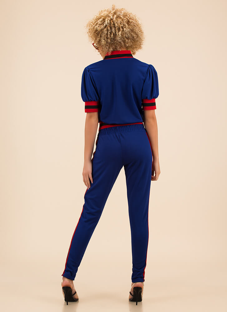 Perfect Track Record Top And Pant Set ROYAL (Final Sale)