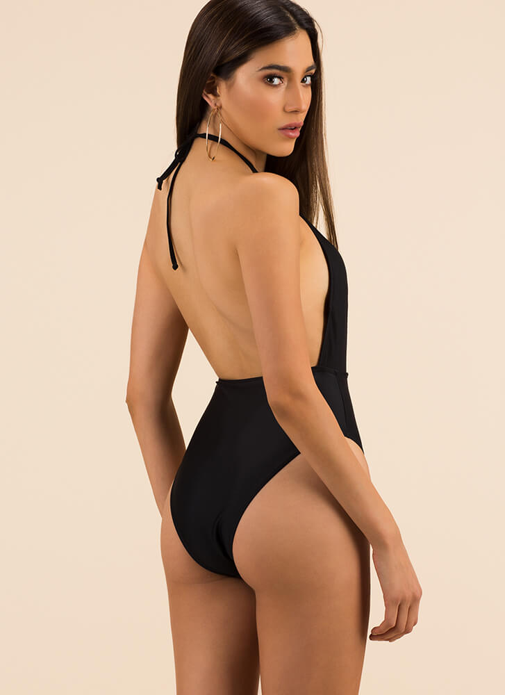 Cage Presence Cut-Out Halter Swimsuit BLACK (Final Sale)