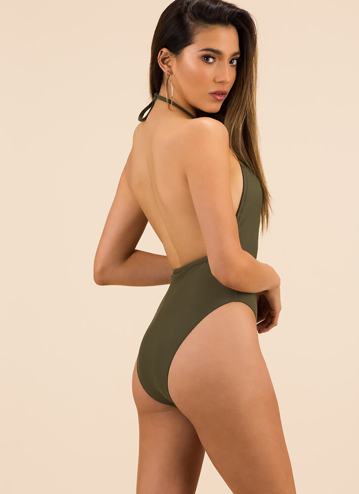 Cage Presence Cut-Out Halter Swimsuit OLIVE (Final Sale)