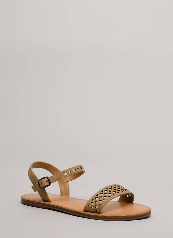 Twinkling Diamonds Distressed Sandals CAMEL
