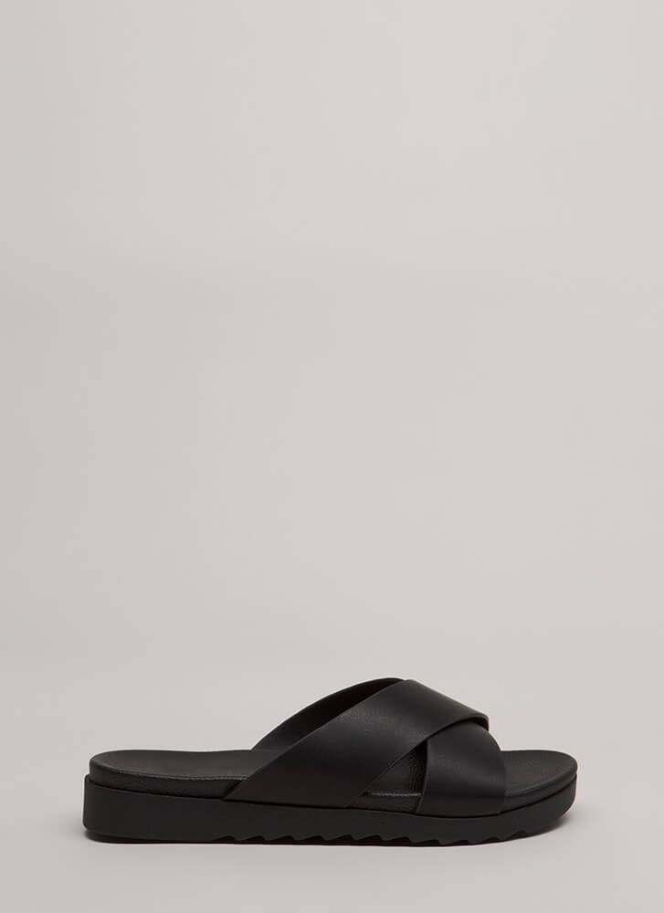 Friendly X's Platform Slide Sandals BLACK