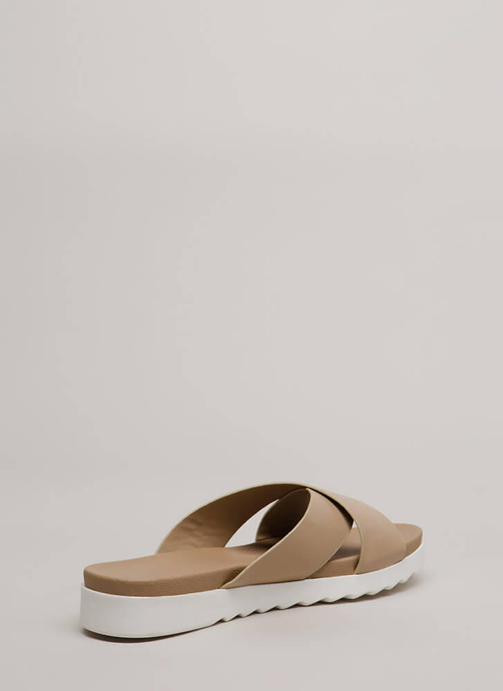 Friendly X's Platform Slide Sandals NATURAL