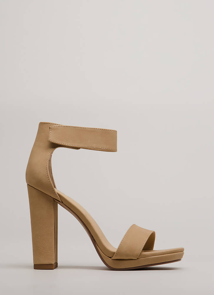 The Easy Life Chunky Velcro Strap Heels NATURAL