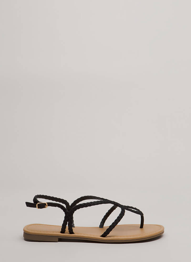 Thrown For A Loop Braided Sandals BLACK
