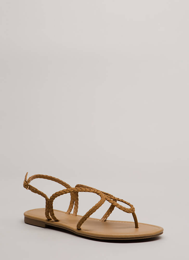 Thrown For A Loop Braided Sandals TAN