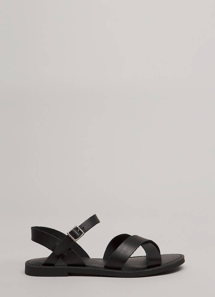 Strappy Memories Faux Leather Sandals BLACK